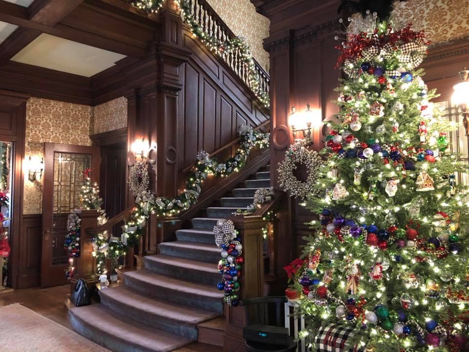 European Tea Room grand stair decorated for Christmas Alexander Mansion Dallas
