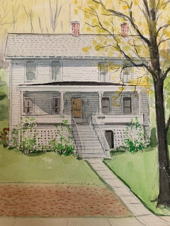 watercolor rendering of home with porch